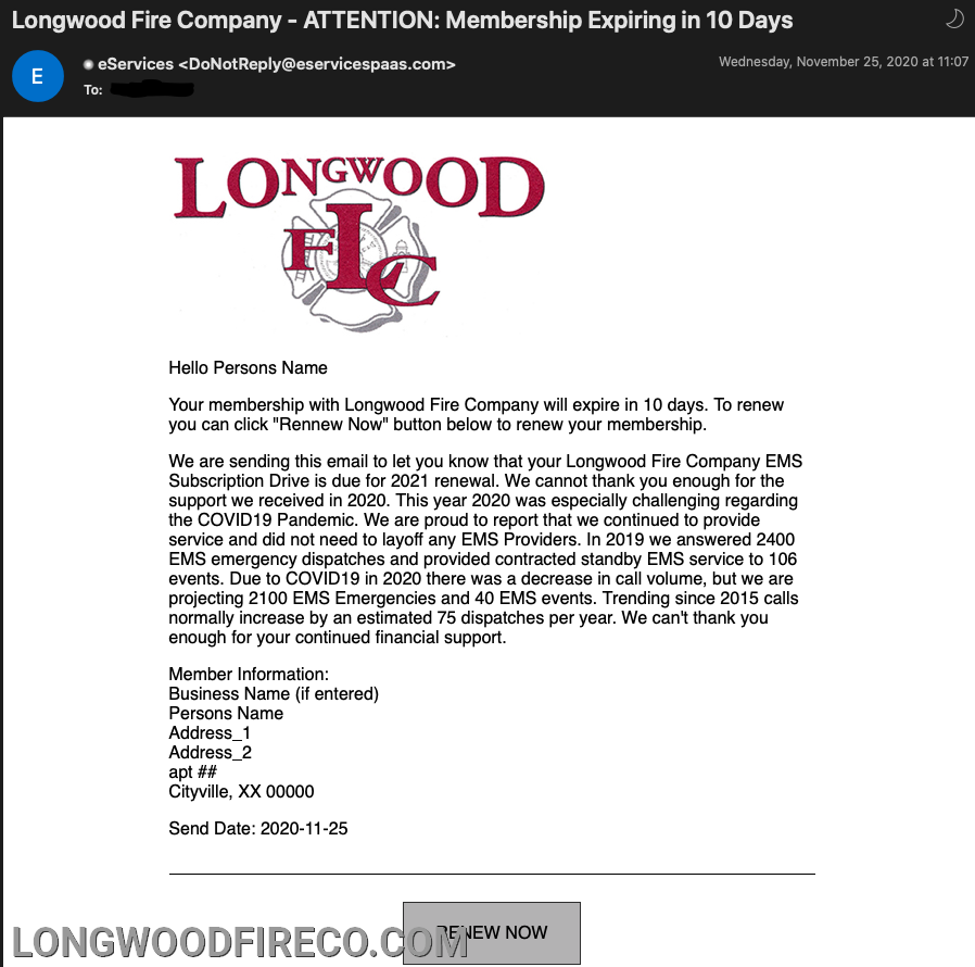 Reminder Email from the Longwood Fire Company Eservices Technology page.