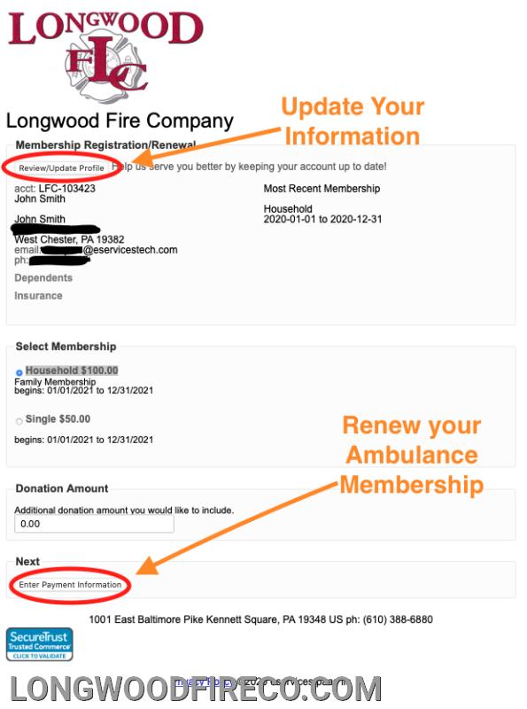 Membership Renewal and Information Page